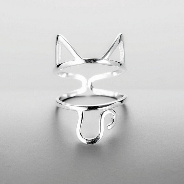 Original Design 925 Sterling Silver Multilayer Hollow Cute Cat Rings For Women G