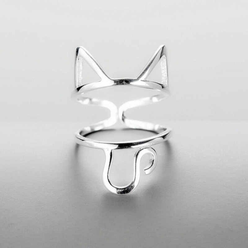 Original Design 925 Sterling Silver Multilayer Hollow Cute Cat Rings For Women Girls Animal Ring High Quality Jewelry Y100