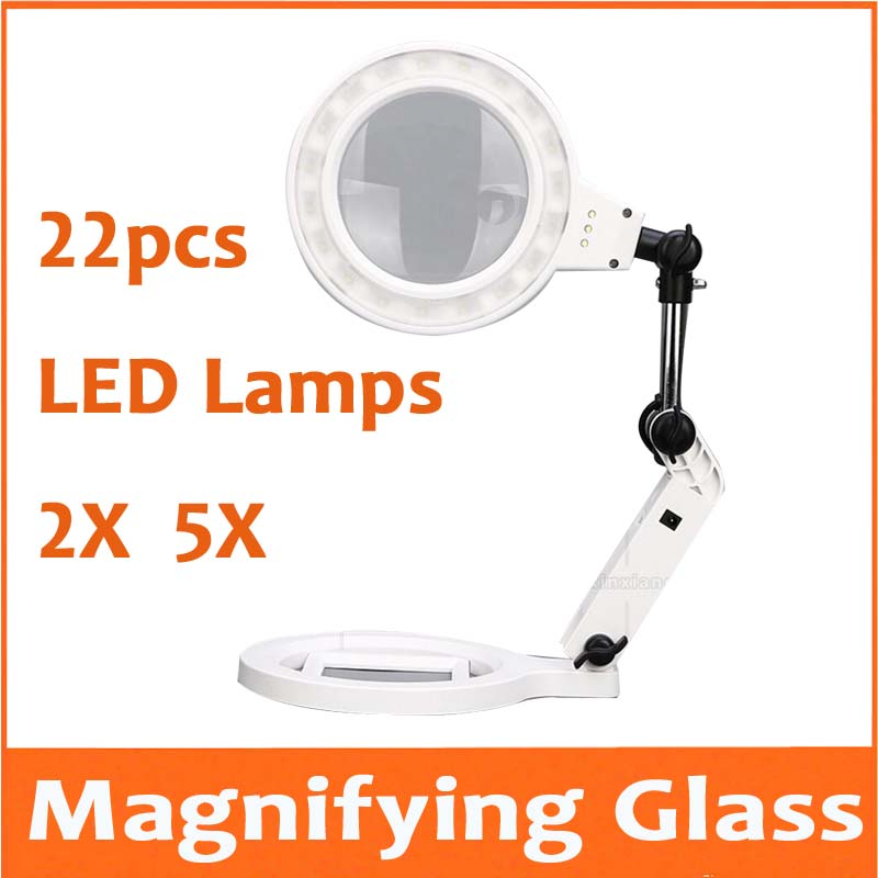 2X 5X 22pcs LED Lamps Desktop LED Illuminated Magnifier Table Lamp Magnifying Glass for Mobile Phone Circuit Board Repair 10 led desktop magnifying glass lamp hands free illuminated magnifier w 2 ways batteries or external plug charger power supply