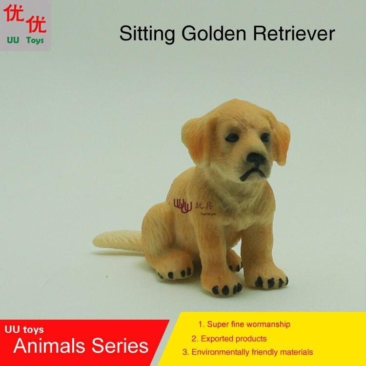 Горячие игрушки: ребенок сидит золотистый ретривер собака моделирование модели Животные детские игрушки образования детей реквизит