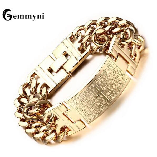 2018 Punk Mens Cross Bracelet Bangle Jesus Christian High Quality Stainless Steel Gold Silver Color Big Male Wristband Jewelry-in Chain & Link Bracelets from Jewelry & Accessories on AliExpress