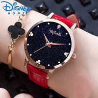 Disney Women Fashion Casual Watch New Girls Luxury Sparkling Stars Minnie Cute Genuine Leather Quartz Watches Original MK-11162
