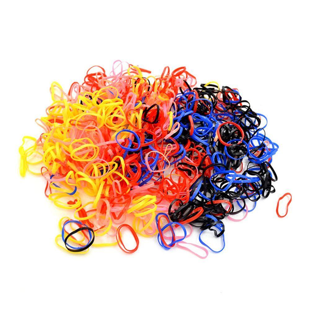 1000 шт. разноцветные резиновые Hairband Веревка хвост держатель Упругие волосы девушки группа галстук