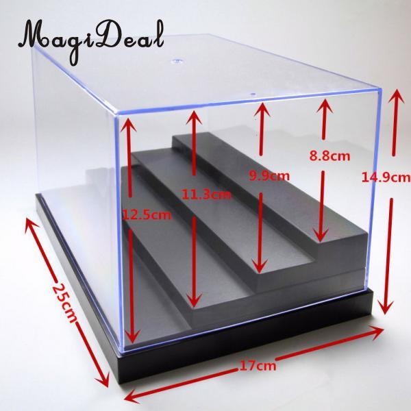 Acrylic Display Show Case Box 4 Step Perspex Dustproof Protection for Figures Diecast Vehicle Model Figurine Doll Collection plastic original building blocks minifigures show cases ladder collection parts box acrylic display case for action figures p150