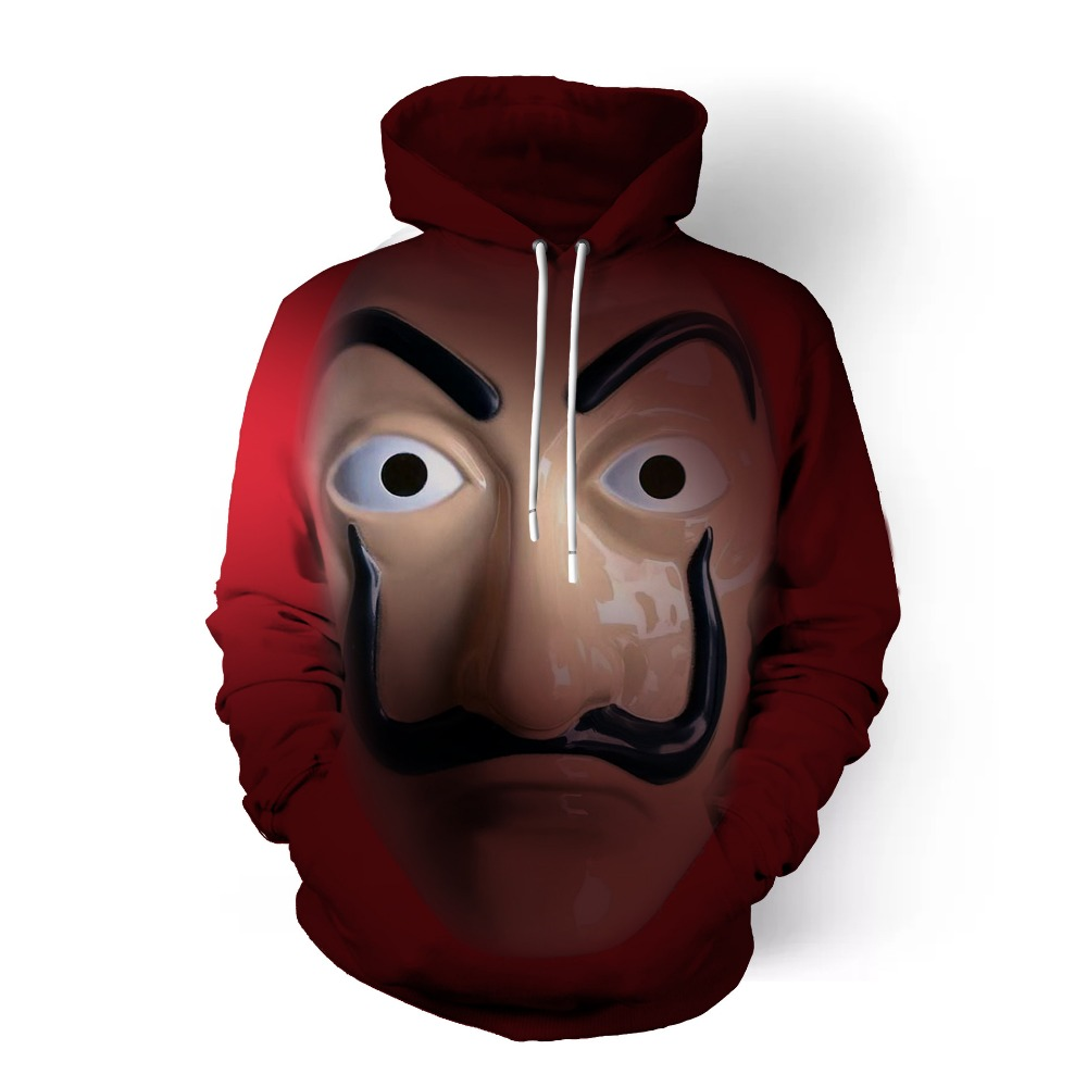 Free shipping woman and man 39 s La casa de papel Dali mask Cosplay 3D printed anime coat Hoodie jacket JQ 2626 in Hoodies amp Sweatshirts from Men 39 s Clothing