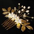 Hecho a mano Elegante de la Hoja de Oro de Cristal de dama de Honor Nupcial Del Pelo Accesorios de La Boda de La Perla Del Pelo Peine Horquilla Tocado de Pelo de La Joyería