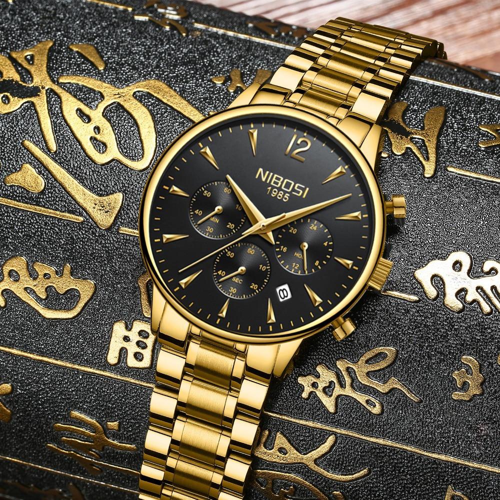 NIBOSI Mens Watches Gold Stainless Steel Waterproof Quartz Watch Men Brand Luxury Clock Male Sports Wrist Watch Wholesale Saat