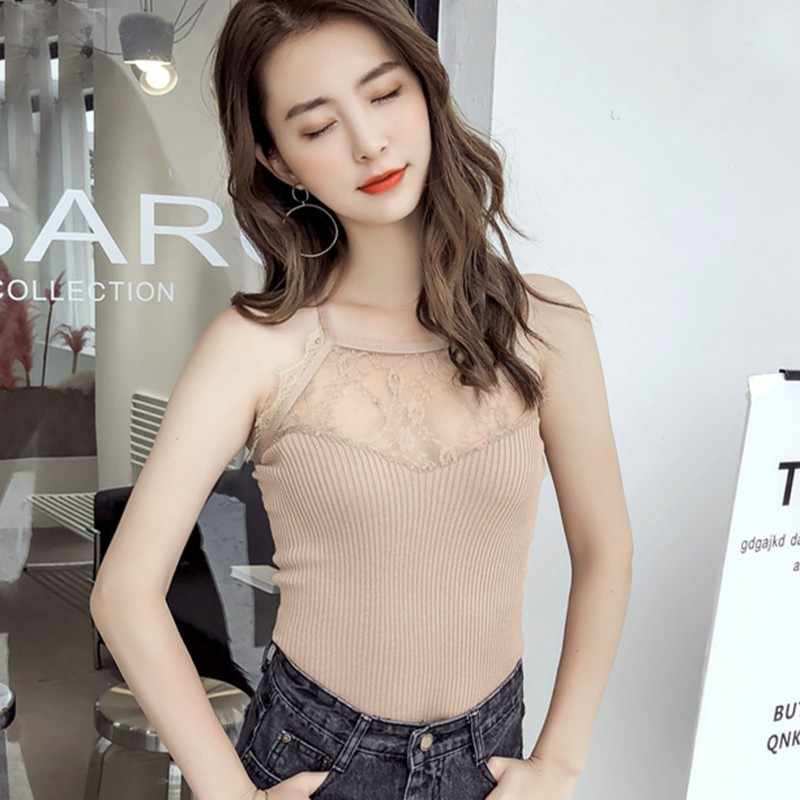 Áo Crop Top Sexy Nữ Cổ Tròn Không Tay Mỏng Màu Yếm Ren Khâu Nữ Áo Lễ Hội Xe Tăng