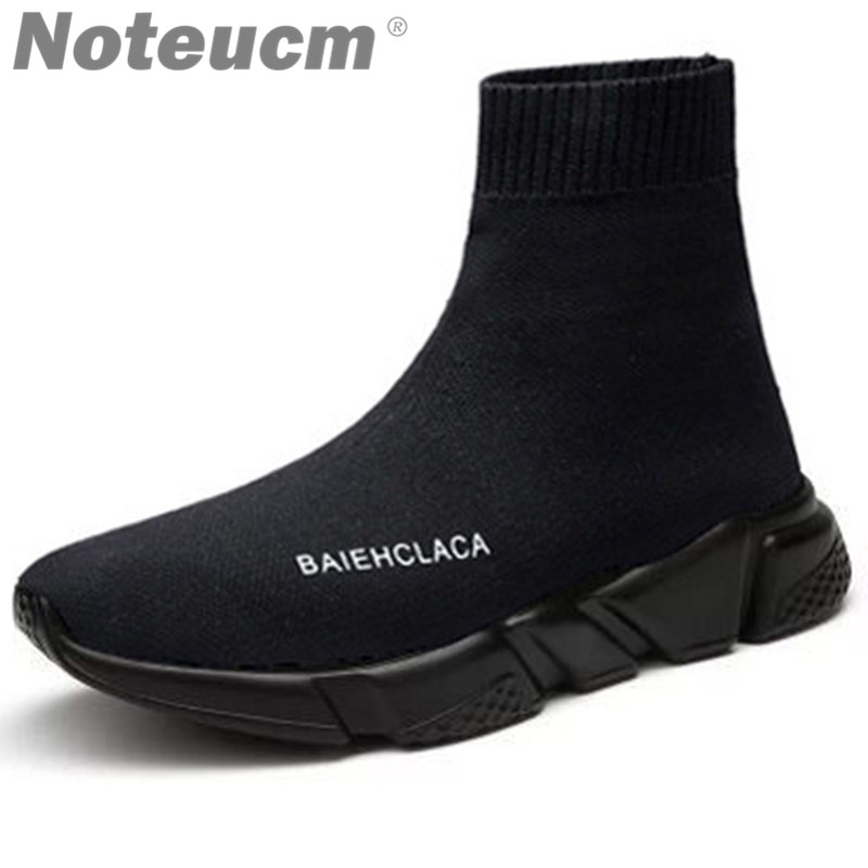все цены на 2018 Brand casual Elastic winter male Stretch speed flyknit high top ankle shoe print knit sock Sneakers men basket Trainer mesh