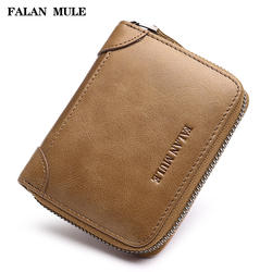 Falan мул винтажная натуральная кожа мужские кошельки небольшой кошелек на молнии бренд кошелек