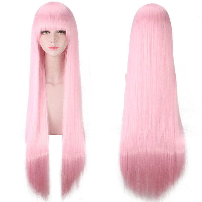 Morematch New Arrival DARLING In The FRANXX 02 Zero Two 100cm Long Pink Synthetic Hair Cosplay Costume Wig + Hair Net