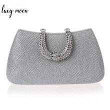 b15091df1 Luxy mulheres Lua de cristal U Diamante sacos de embreagem fecho glitter  prata sacos de noite ouro embreagem bolsa festa bolsa d.