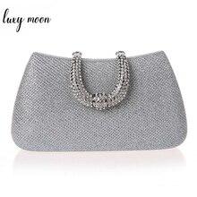 Lüks ay kadınlar kristal U elmas toka el çantası glitter gümüş akşam çantalar altın debriyaj parti çanta kadın çanta
