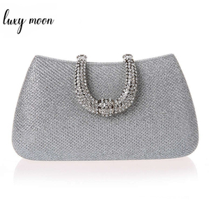 Image 1 - Lüks ay kadınlar kristal U elmas toka el çantası glitter gümüş akşam çantalar altın debriyaj parti çanta kadın çanta