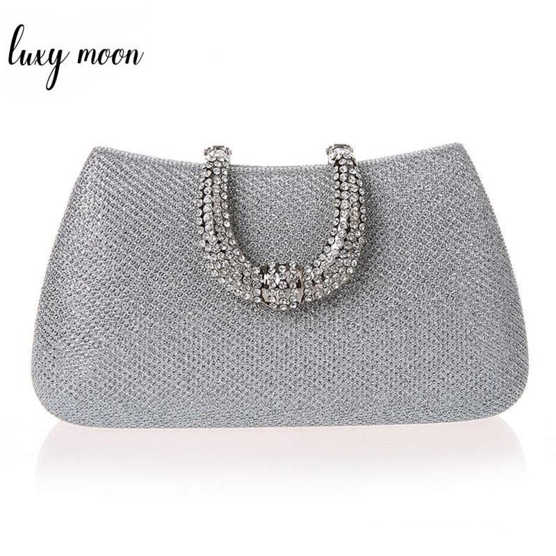 Luxy Moon Women Crystal U Diamond Clasp Clutch Bags Glitter Silver Evening Bags Gold Clutch Party Purse Woman Handbag