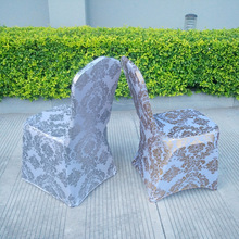 Gold Silver Colour Print Chair Cover Pattern Lycra for Wedding Party Decoration Cheap Price Spandex Fit All Chairs