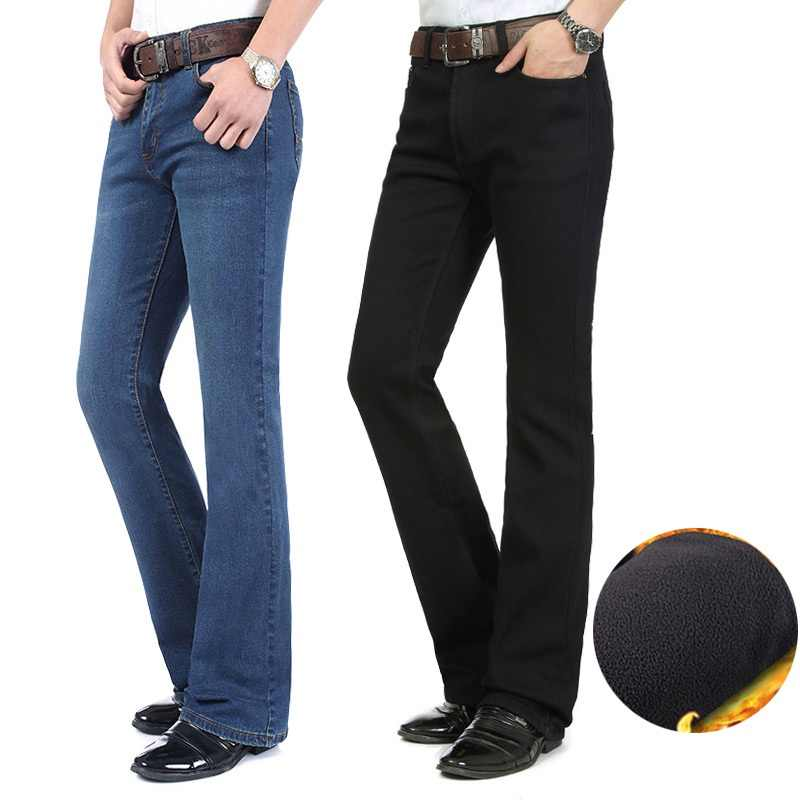882aba52c1e862 Free Shipping 2018 Men's Winter Plus Velvet Thickening Boot Cut Jeans Male  Mid Waist Business casual