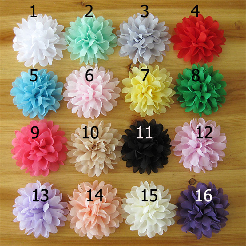 48pcs/lot 16colors Chiffon Fabric Flowers for Kids Headbands Hairband Hair Ornaments DIY Decorative Accessories 50pcs lot 4 1 17colors shabby lace mesh chiffon flower for kids girls hair accessories artificial fabric flowers for headbands