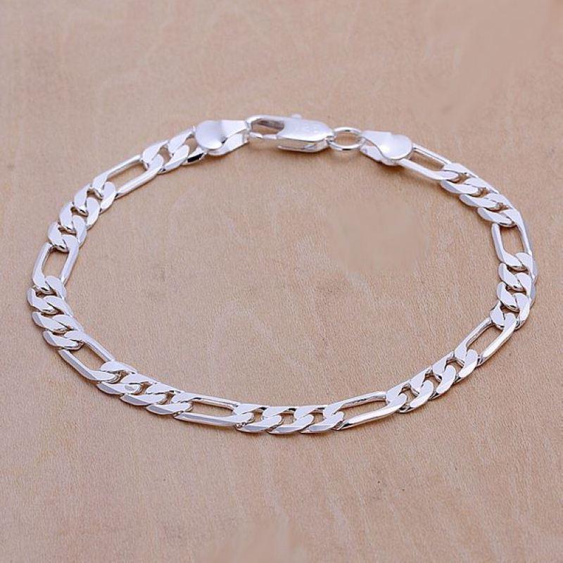 nagykereskedelmi divat ékszerek ezüstözött 6mm lapos három egy link lánc férfi karkötő Figaro lánc árak euróban 925 bélyegző
