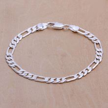 wholesale fashion jewelry silver plated 6mm flat three one link chain men bracelet Figaro chain prices in euros 925 stamp