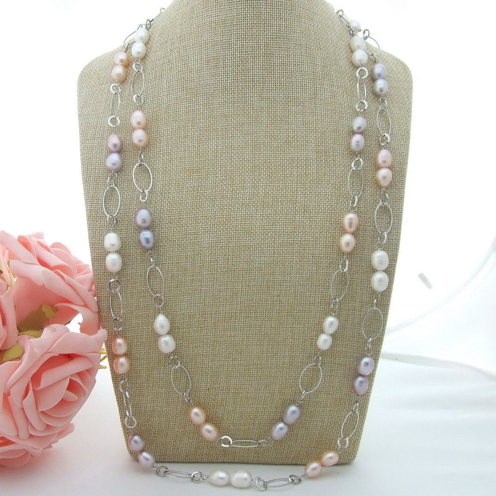 AB061306 67'' Multi Color Pearl Long Necklace