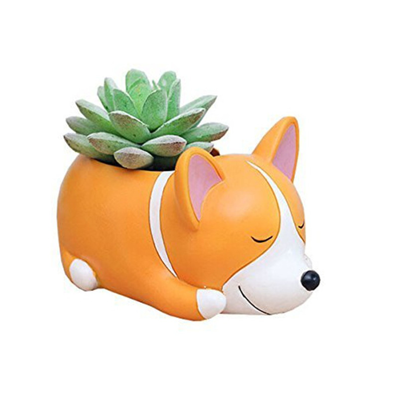 Image 2 - Lovely Corgi Dog Shaped Plant Decor Succulent Plants Decorative Flower  succulent can small plant pots planter wall-in Flower Pots & Planters from Home & Garden