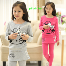 Children's clothing / spring / autumn / season, children's suits, girls' clothes, new cartoon cat, casual clothes, 3-14y girls,