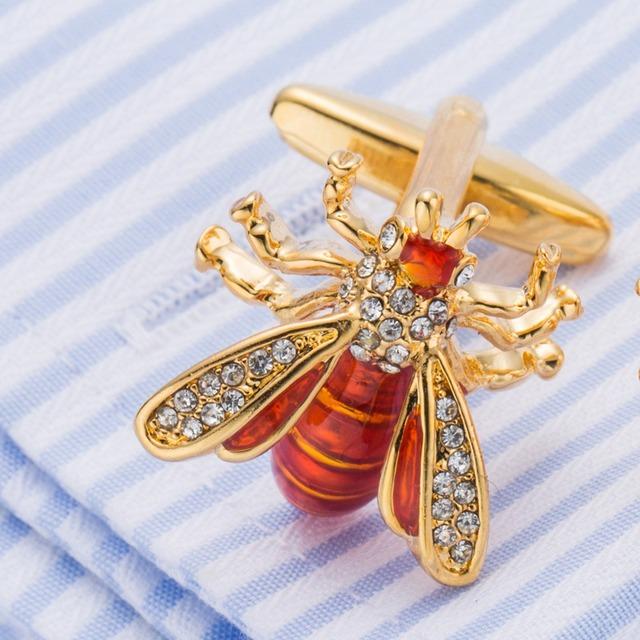 Vagula Novelty Bee Cuff Links Jewelry French Shirt Cuff-links Crystal Cufflinks Creative Brass Gemelos 517