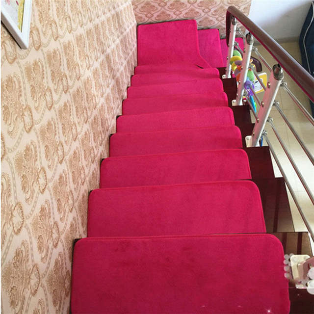 13pcs Stair Treads Rectangle Non Slip Carpet Stair Mats Country Style Rugs Pads Free Shipping
