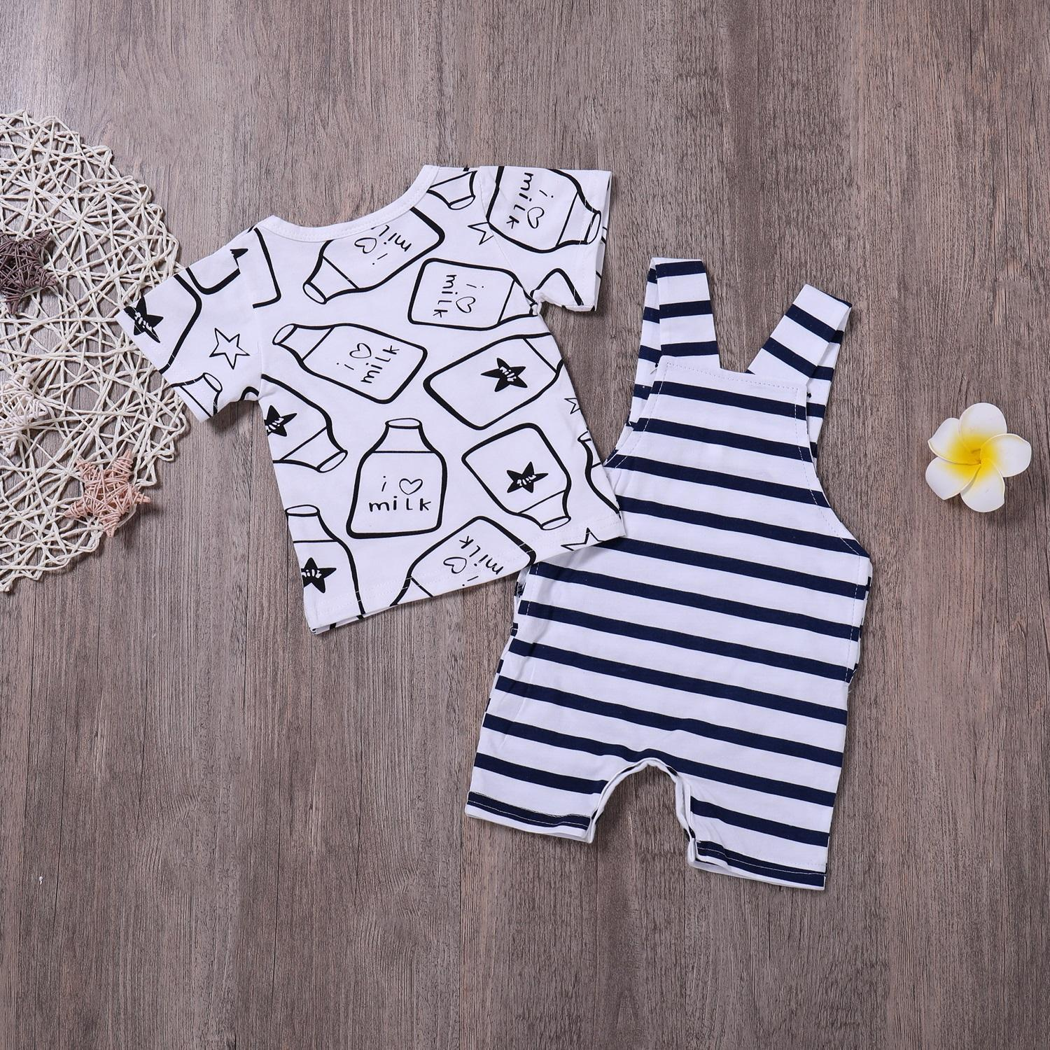 1 Set Infant Clothing Boys Baby T shirt and Dungaree