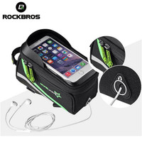 ROCKBROS Waterproof MTB Bike Bicycle Front Top Frame Handlebar Touch Bag For 6 4 8 Inch