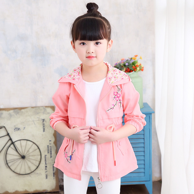 2018 Autumn New Children's Sets Clothing, Girls, Peach Windbreaker, Big Child Windbreaker, Hooded Coat Free Shipping