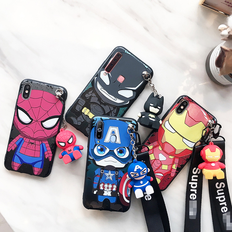 SAM S10 plus <font><b>Cute</b></font> 3D <font><b>phone</b></font> <font><b>case</b></font> For <font><b>Samsung</b></font> Galaxy S7 Edge S8 S9plus S10E note8/note9 Cartoon cover+ stander+ strap image