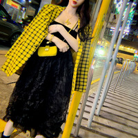 Retro Plaid Small Suit Jacket Women 2019 Spring Suit New Korean Version Of The Red Suit Women Jackets And Coats Button Notched