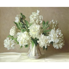 Buy White Flower Vase Landscape DIY Painting By Numb online