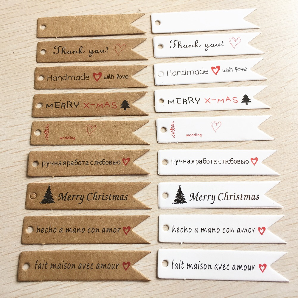 50 pcs handmade hang tag kraft paper thank you gift tag label for wedding/candy/baby gift products tagging package 7x1.5cm