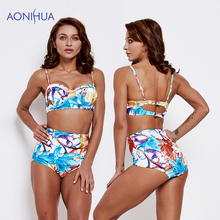 AONIHUA 2019 New Flower printed Women Swimsuit Sex Bikini Set Padded Bra Triangle Body Suits Two Piece