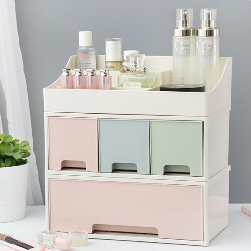 SYTH Desktop Glossy Plastic Cosmetic Organizer Makeup Storage Boxes Bins Plastic Cosmetic Storage Box Sundry cosmetic organizer makeup organizer box