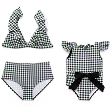 plaid swimwear mother and daughter swimsuits mommy me clothes family look high waist bikini mom mum matching dress