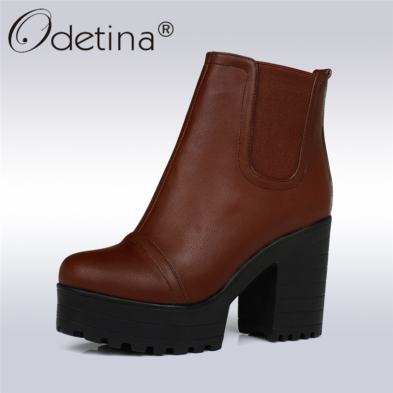 Odetina 2017 Thick Heel Ankle Boots Ladies Platform High Heels Shoes Slip On Booties Chunky Heel Casual Winter Shoes Big Size 43 womens punk ankle boots chunky heels platform side zip leather moto shoes woman high heel thick heel platform motrocycle boot