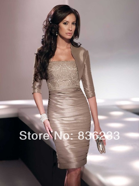 65c6d26d Honorable 2014 Taupe matching bolero jacket Elbow Sheath Strapless Lace  Ruched Short Knee- Length Mother Of The Bride Dresses
