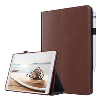 For iPad mini 4 Smart Flip Tablet Case Cover Luxury Genuine Leather Folding Stand Case + Hand Strap + Card Slots + Pencil Holder