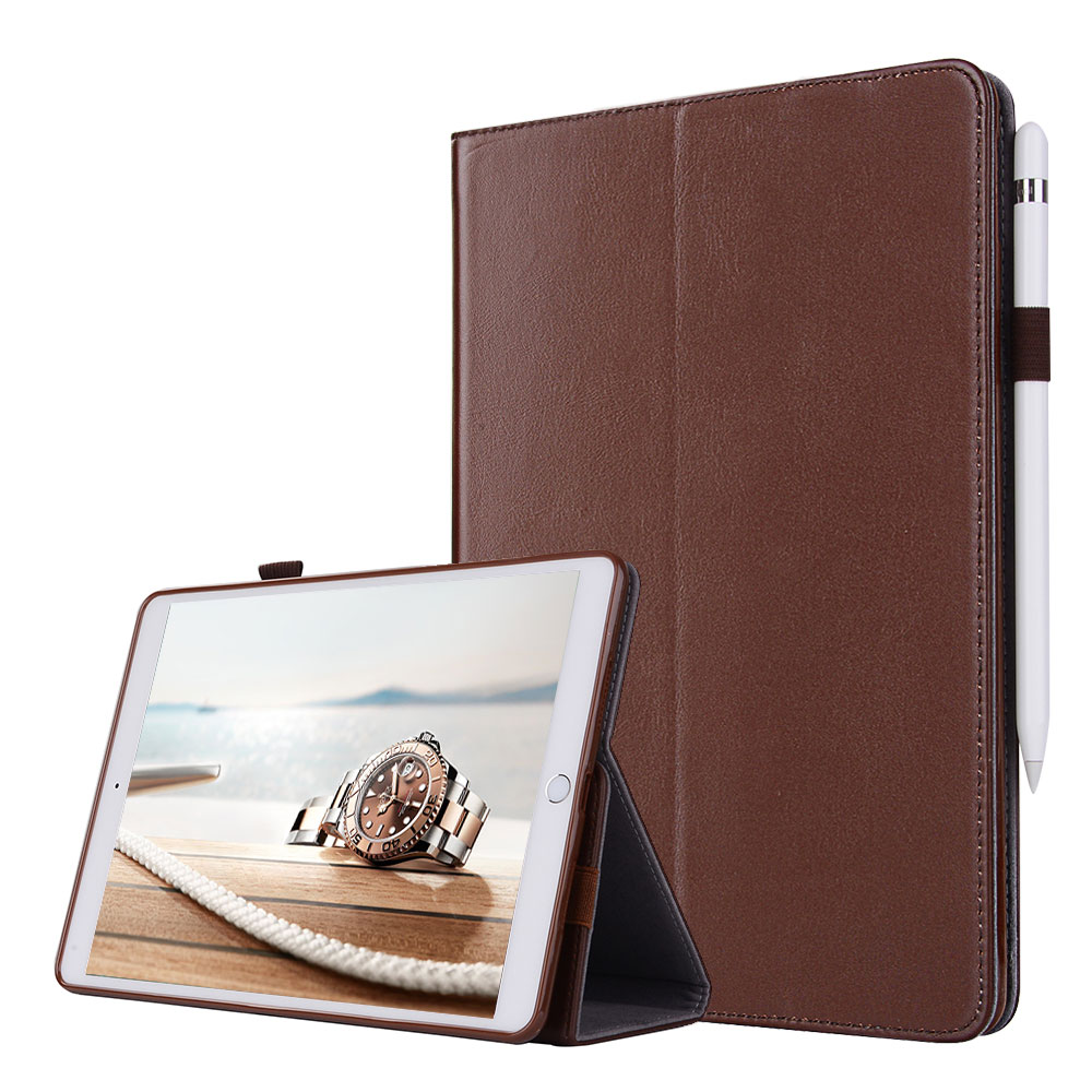 For iPad mini 4 Smart Flip Tablet Case Cover Luxury Genuine Leather Folding Stand Case + Hand Strap + Card Slots + Pencil Holder enkay bell tower pattern flip open pu plastic case cover w stand card slots for iphone 6 4 7
