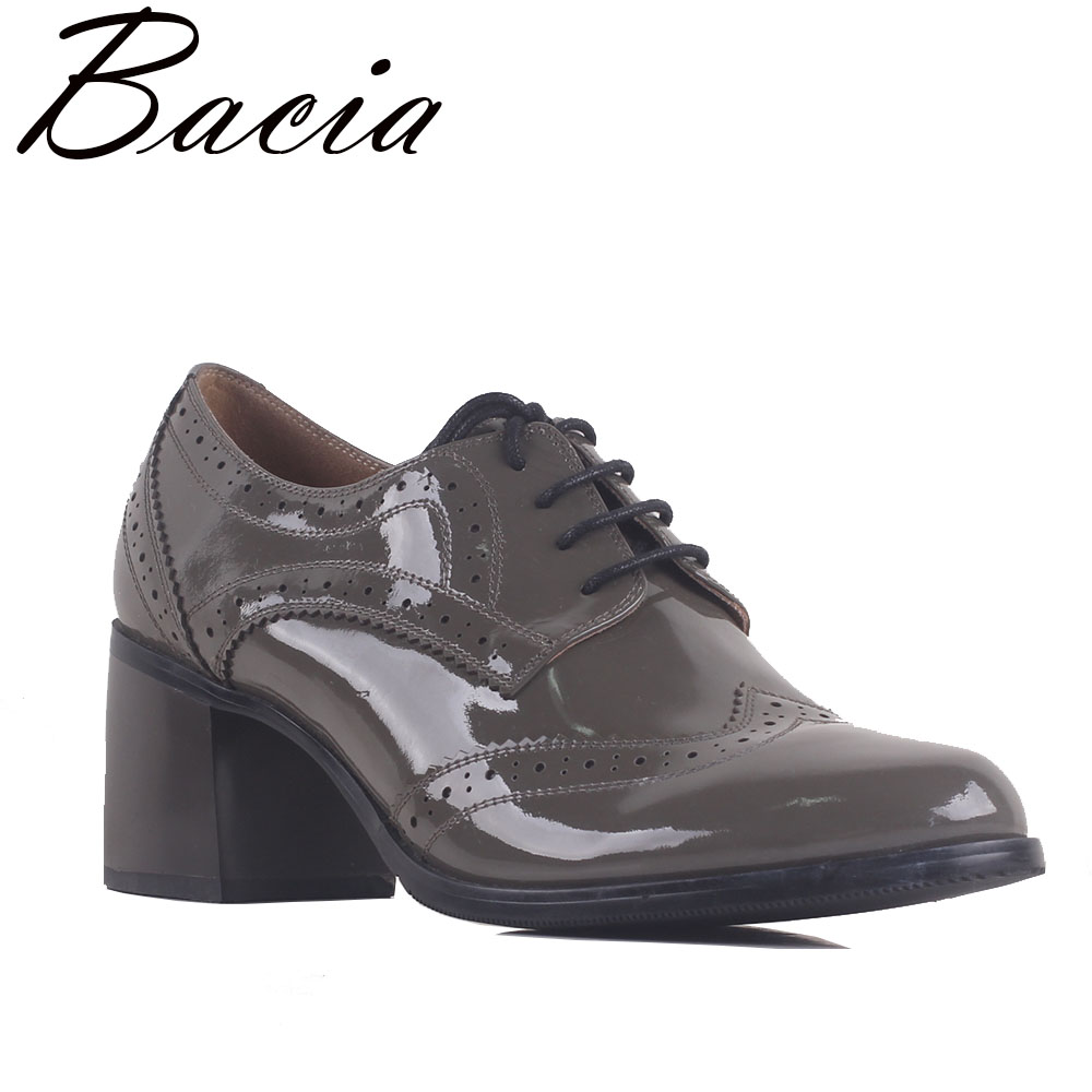 Bacia 2018 Lady High Quality Genuine Leather Thick Heel Women's Pumps For Women Fashion British Style Pumps Shoes Autumn SB061 bacia casual shoes luxury british style leather square heels for women spring autumn high quality pumps round toe shoes vc011
