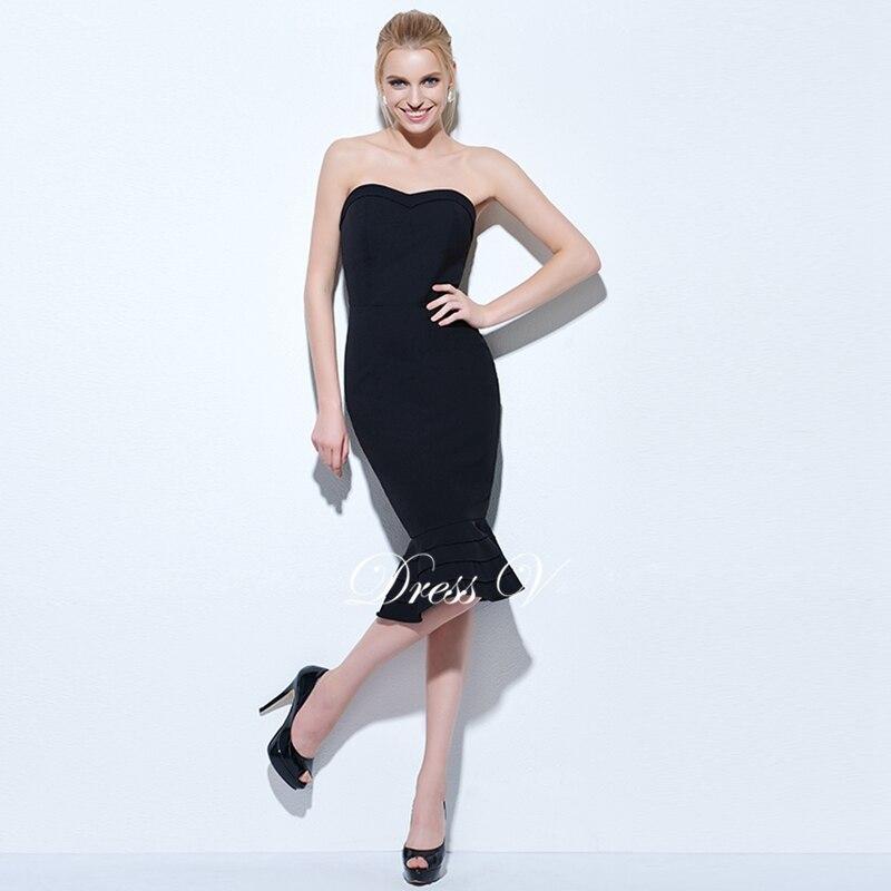 Dressv Black Mermaid Cocktail Dress Strapless Sleeveless Knee Length