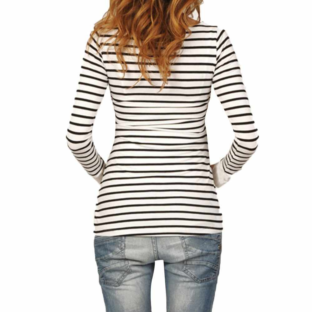 Women Mom Pregnant Nursing Baby Maternity Long Sleeved Stripe Tops Blouse Clothe breastfeeding dress fine pregnancy clothes new