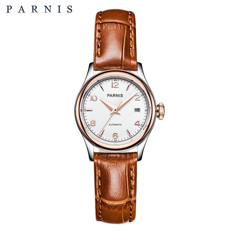 Parnis Relógio Mecânico Mulheres 27 milímetros Sapphire Couro Bracelt 2018 Marca de Luxo Relógio para Senhoras Relógio de Pulso de Ouro para As Mulheres PA2113