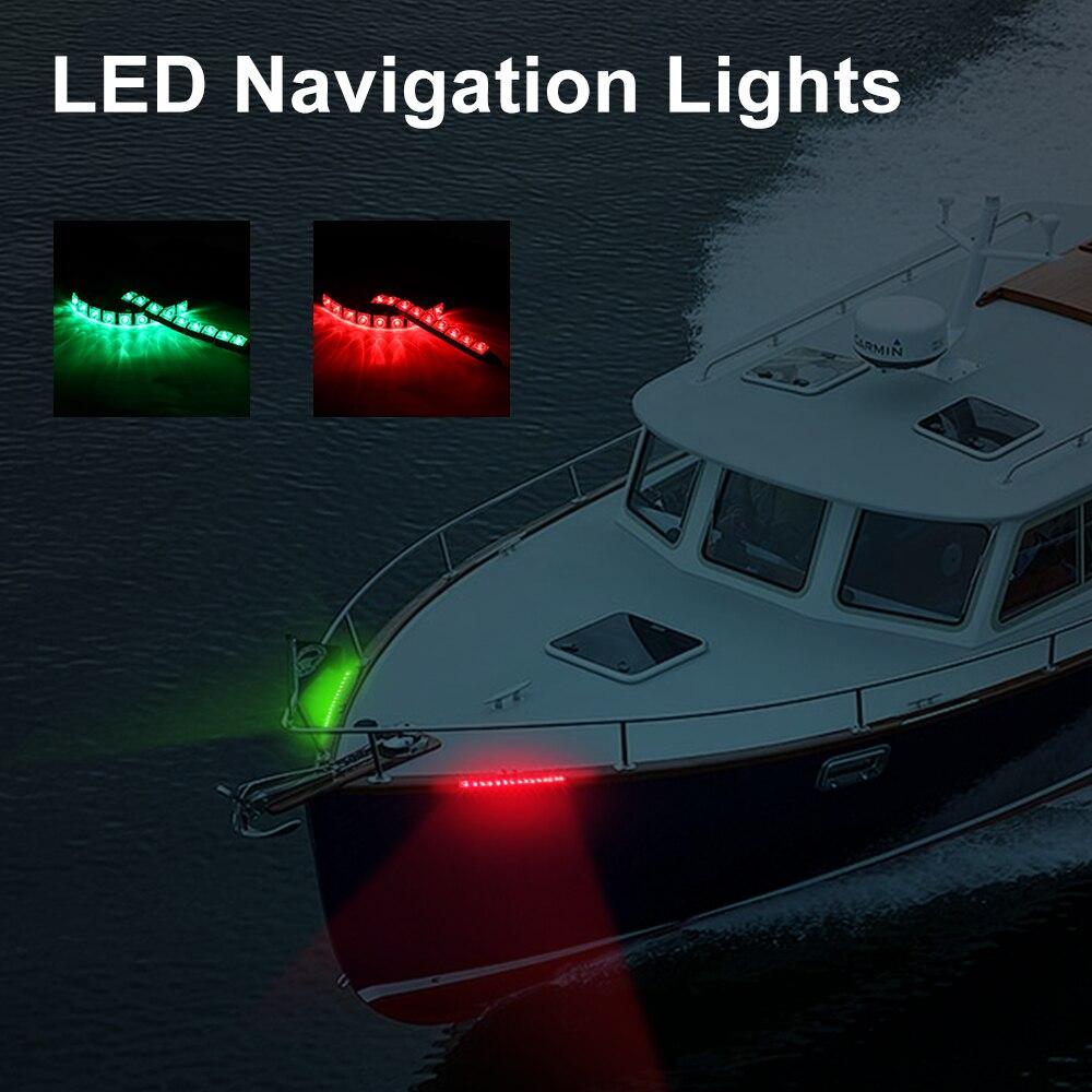Kemimoto 1 Pair Safety 12V Led Navigation Lights For Jet Ski PWC Marine Boat Bow Waterproof LED Lighting Stripe Kit