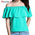 Plus Size 2016 Summer Sexy Off Shoulder Women Chiffon Ruffles blouses shirts Slash Neck Loose Casual Female Ladies tops Blusas