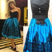 Maß Cocktailkleider Blau Farbe Schwarz Spitze Schatz Eine Linie Knielangen Cocktailkleider 2015 Myriam Fares